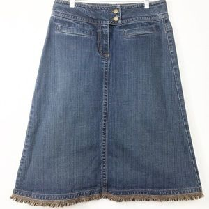 CAbi Denim Fringed Hem A Line Skirt 6